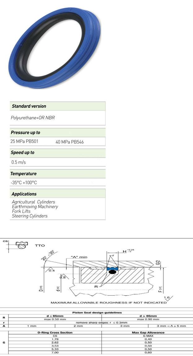 Piston Seals Profile - TTO PB501 / TTO PB546