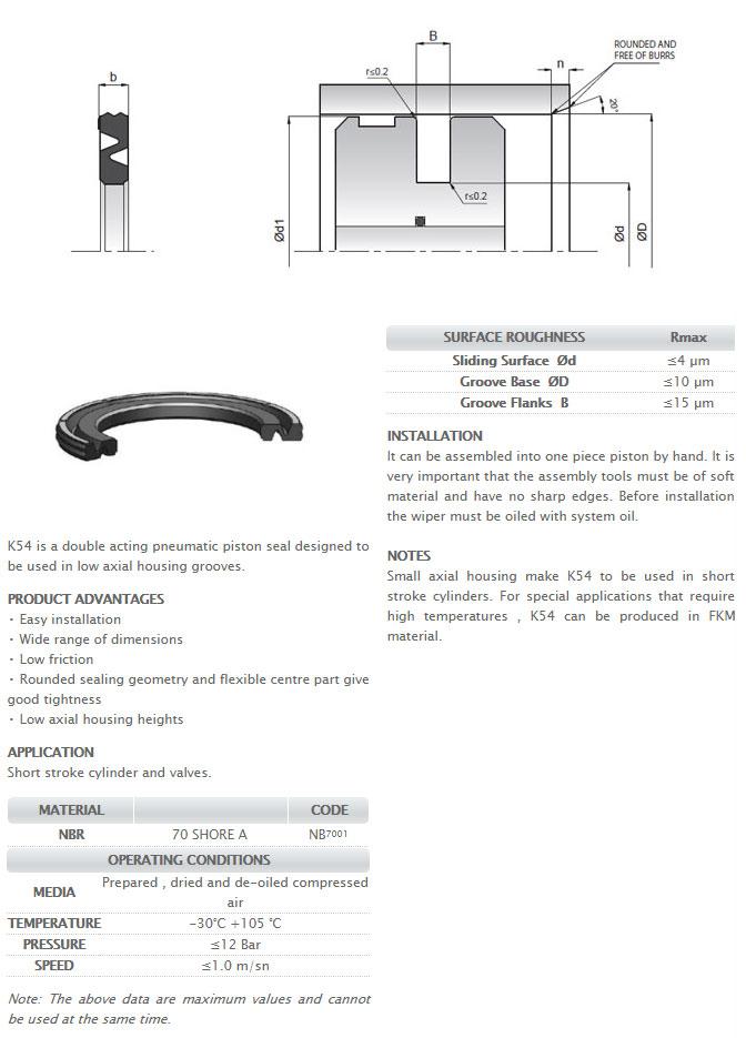 Pneumetic Piston Seals Profile - K54