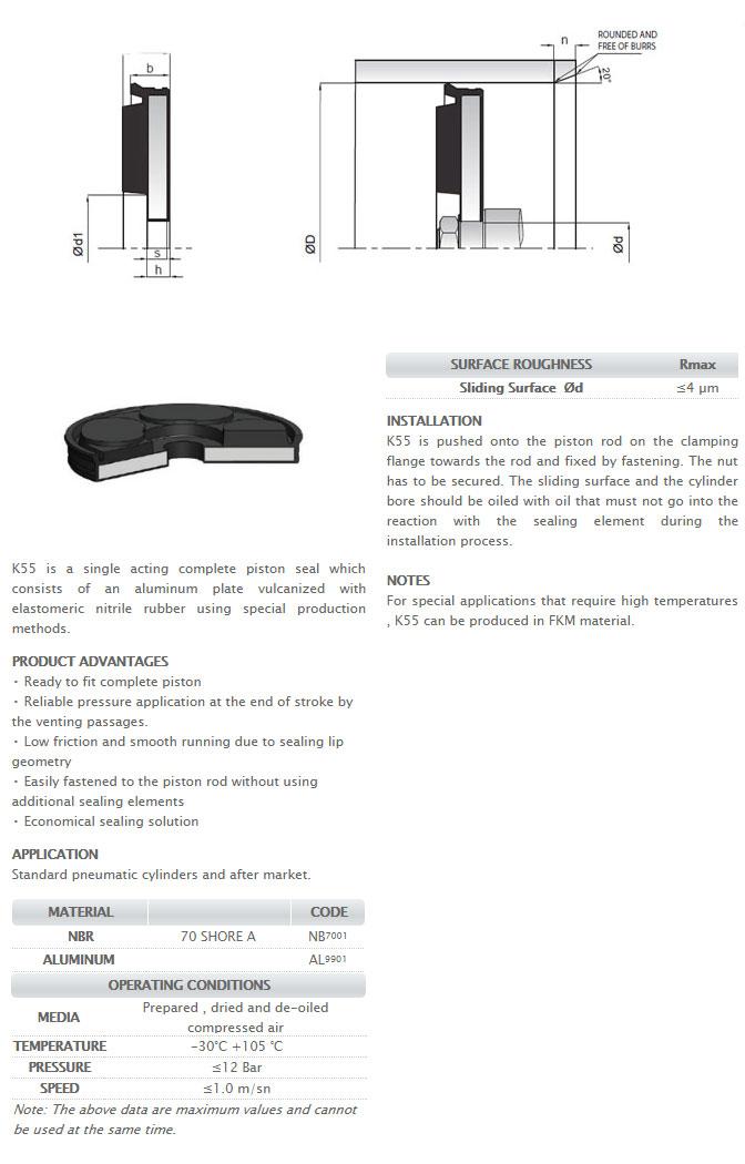 Pneumetic Piston Seals Profile - K55