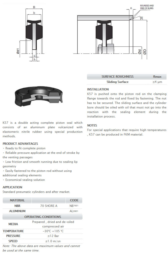 Pneumetic Piston Seals Profile - K57