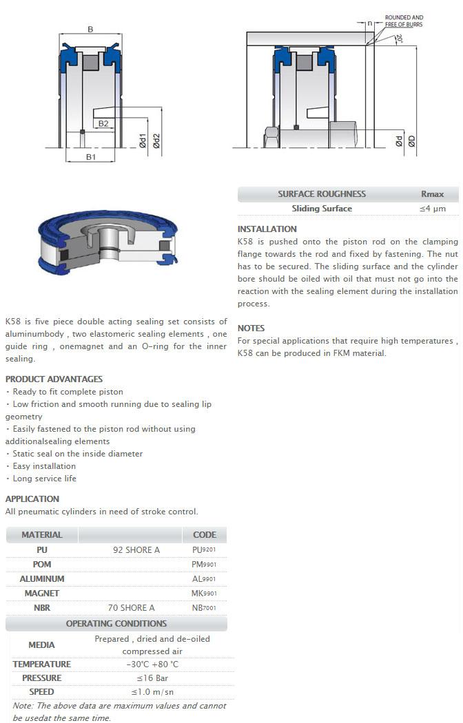 Pneumetic Piston Seals Profile - K58
