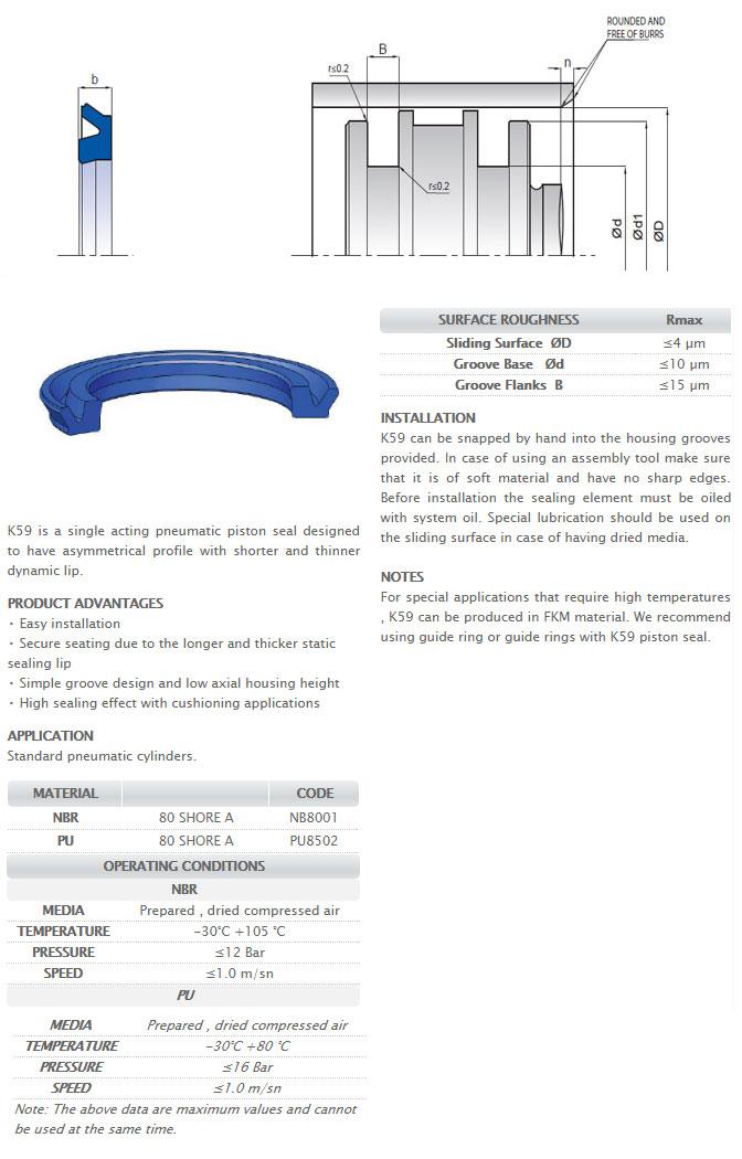 Pneumetic Piston Seals Profile - K59