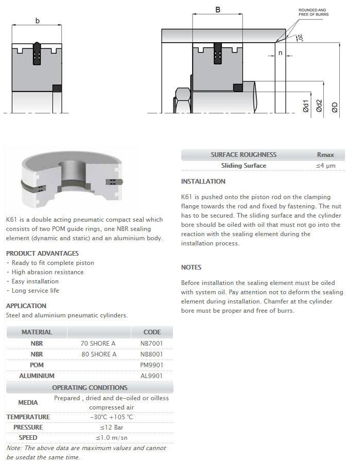 Pneumetic Piston Seals Profile - K61