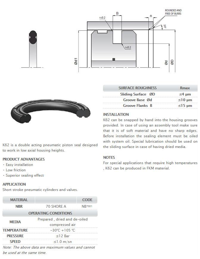 Pneumetic Piston Seals Profile - K62