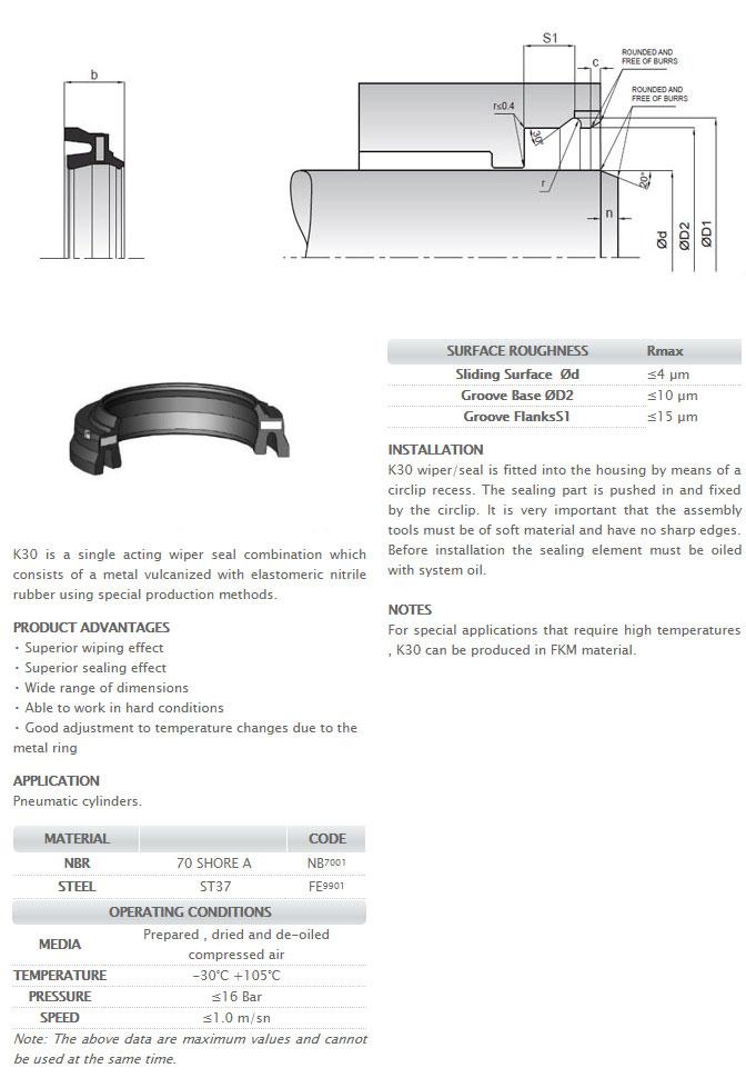 Pneumetic Rod Seals Profile - K30