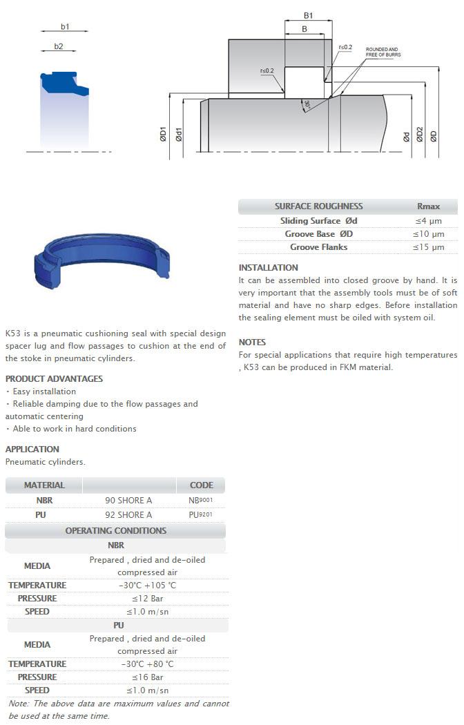 Pneumetic Rod Seals Profile – K53