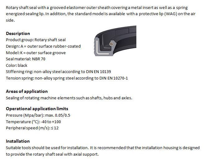 Rotary Shaft Seal Profile - WAK