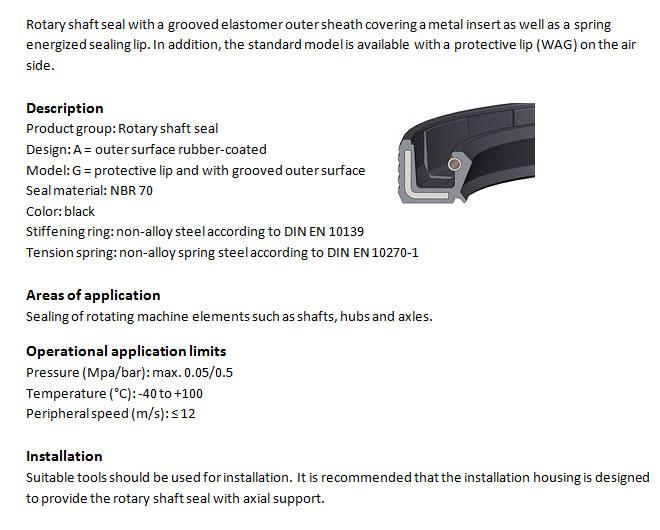 Rotary Shaft Seal Profile - WAG