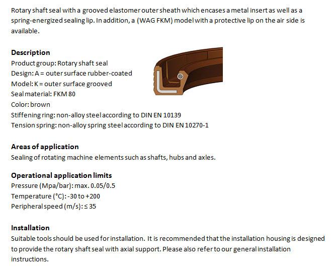 Rotary Shaft Seal Profile - WAK FKM