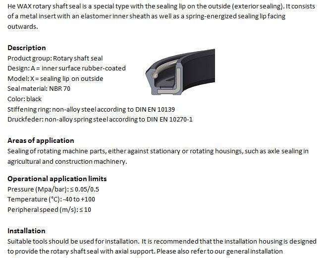 Rotary Shaft Seal Profile - WAX