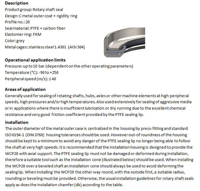 Rotary Shaft Seal Profile - WCP 20