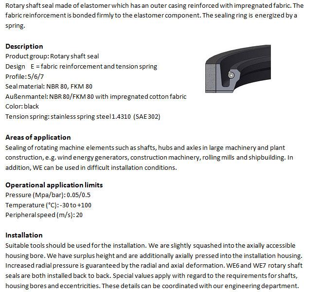 Rotary Shaft Seal Profile - WE 6