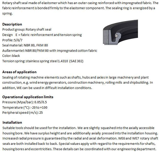 Rotary Shaft Seal Profile - WB 7 FKM