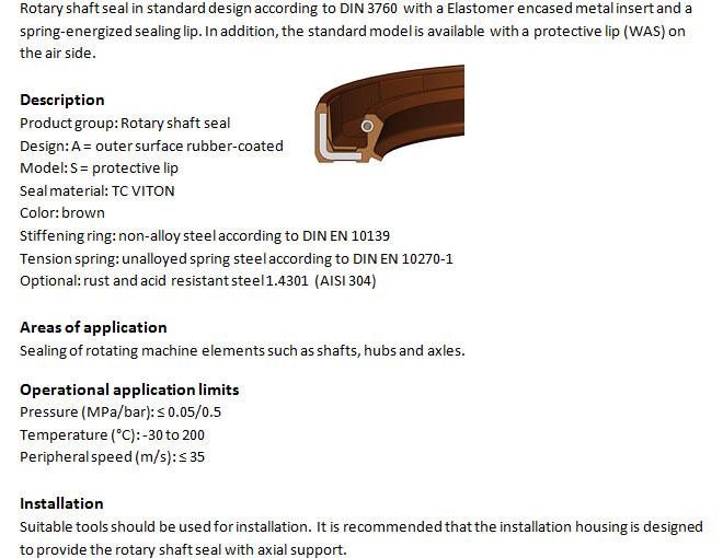 Rotary Shaft Seal Profile - WAS FKM