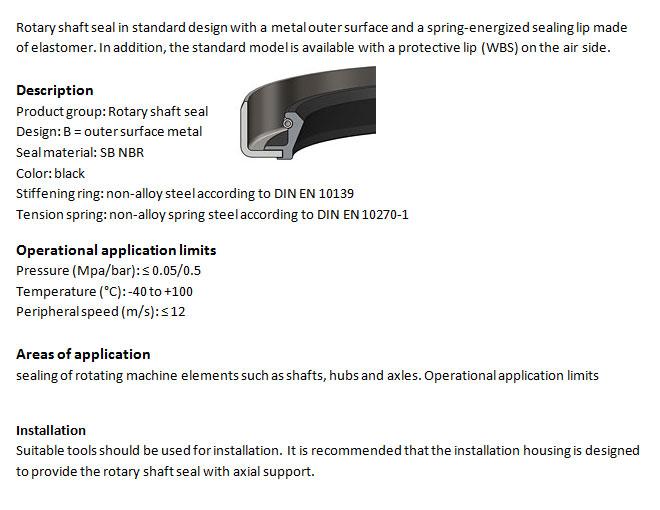 Rotary Shaft Seal Profile - WB